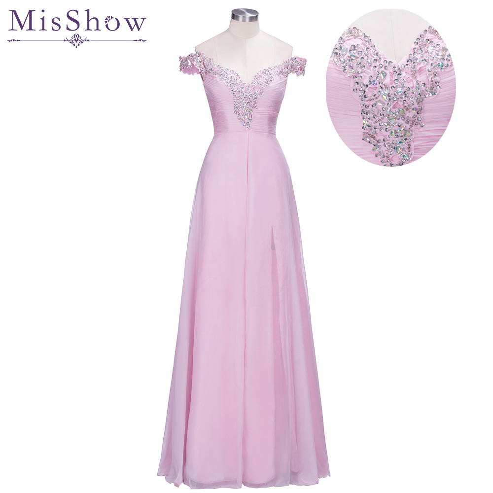 Fast ship! In Stock Pink   Prom     Dresses   2019 Women Elegant Crystal Long Formal Party Gown Sexy Backless Beading Evening   Dresses