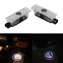 2X LED 3D Car Courtesy Lamp Logo Car Door Welcome Light Shadow Projector Laser For Alfa Romeo Giulietta Mito Stelvio Giulia 159 carbar led door courtesy logo light for alfa romeo ghost shadow light for alfa romeo giulia 159 147 logo lights no drilling