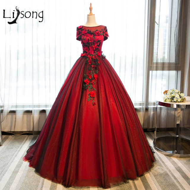 Aliexpress.com : Buy Red Floral Appliques Evening Dresses Ball Gowns ...