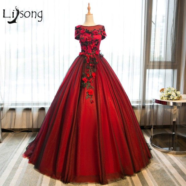 Online Shop Red Floral Appliques Evening Dresses Ball Gowns Bridal ...