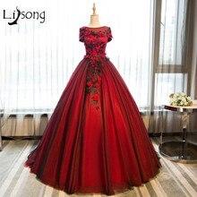 Rojo Floral Apliques Vestidos de Noche Vestidos de Bola Nupcial Del Partido de Tarde Formal Del Vestido vestido de noiva Moderno Rojo Borgoña vestido de Bola
