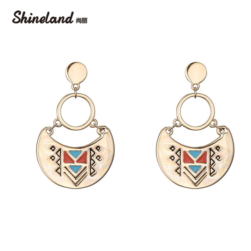 Shineland Hot Fashion Trendy Enamel Gold Silver Color Carved Triangle Unique Women Drop Earrings Ethnic Ear Jewelry Accessories