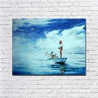 Man fishing on the boat sea surface oil painting beautiful landscape seascape canas art painting wall decoration