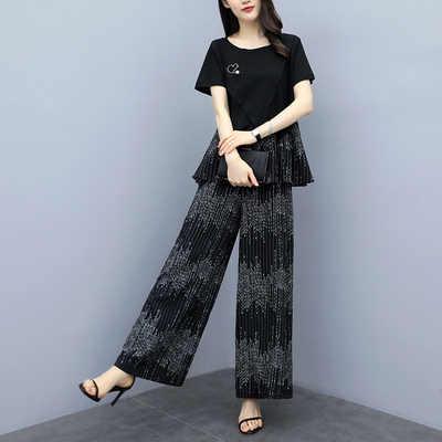 2019 夏新カジュアル Tシャツズボン女性 2 個セット半袖ルーズ Tシャツ + ハイウエストワイド脚パンツプラスサイズ 5XL