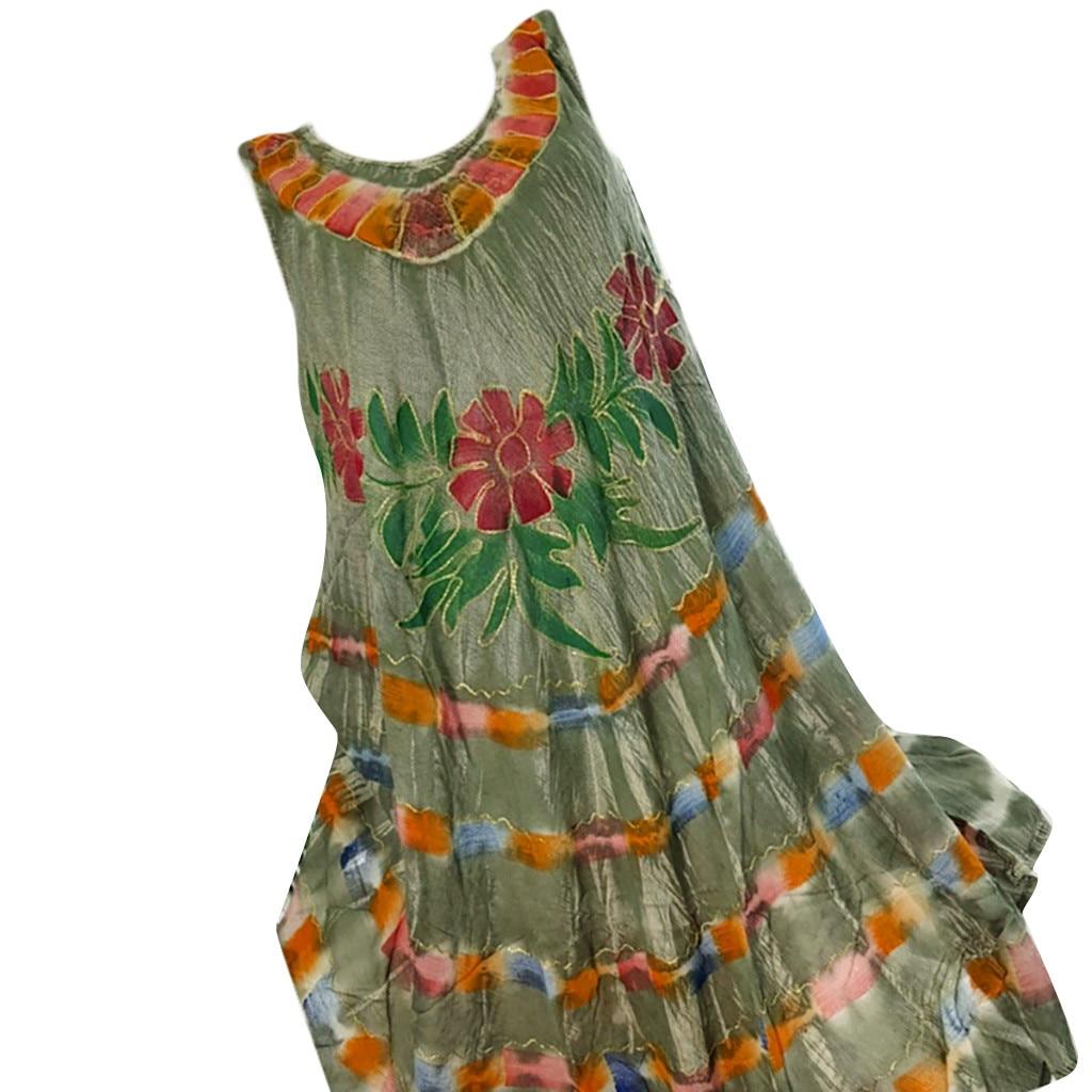 SAGACE Summer Dress women's Large Size Casual Sleeveless Fashion women's Beach O-neck Retro Printed Vest Casual Dress
