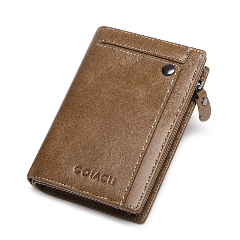 Genuine leather Men' Purse Male 2018 New Fashion Short Clucth Wallet Men Zipper Bag Small Men Wallet Coin Purse Portfel Carteira