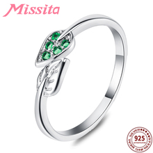 MISSITA 925 Sterling Silver Romantic Green Leaf Rings For Women Wedding Gift with Stackable Zircon Ring Brand Jewelry