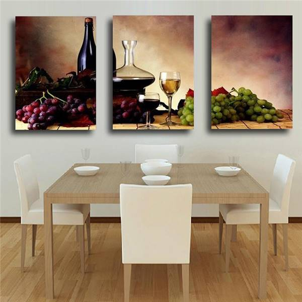 Kitchen Wall Painting Designs: Unframed 3 Panel Reto Abstract Wine Grape Fruit Vintage