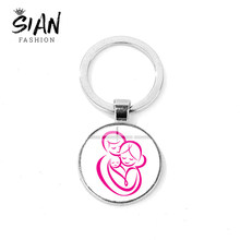 SIAN Parent-child Family Key Chain Daddy Mom Baby Symbol Glass Cabochon Silver Plated Metal Key Ring Holder Car Bag Accessories(China)