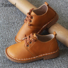 2019 new childrens shoes for spring and autumn girls British babys retro genuine leather shoes cow muscle sole size 21 30