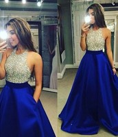 Vestidos de Graduacion Bead Bodice Satin Skirt Long Prom Dress Royal Blue Occsaioin Dresses for Women