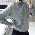 Manga torcida Mulheres Blusas Gola 2016 Inverno Engrosse Pullovers Mohair Quentes Das Mulheres Casuais Outerwear Feminino Camisola SL0844