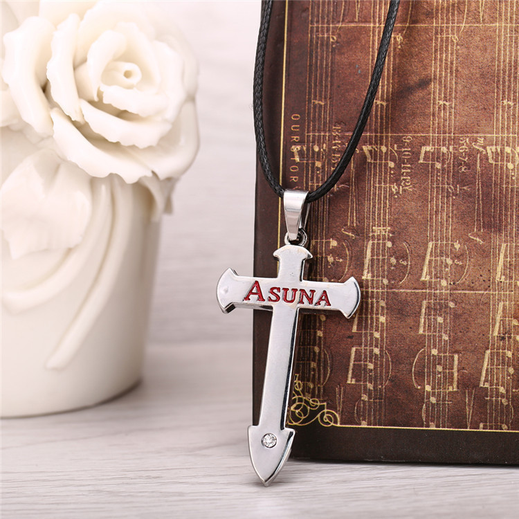 H&F 12pcslot Hot Anime Sword Art Online Metal Necklace silver plated crucifix  Pendant necklace Cosplay Accessories Jewelry