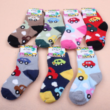 12 Pairs Autumn Winter Warm Thick Children Toddlers Girls Boys Hosiery Cartoon Car Sleeping Socks Baby Kids Unisex coral fleece