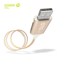WSKEN Micro USB Data Cable OTG Share Power Metal Braided Charging Cable Adapter For Lightning Iphone