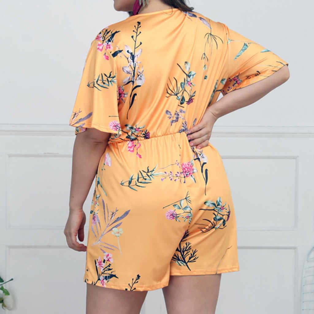 Комбинезон больших размеров для женщин Ropmers Boho Цветочные Костюмы для игры с принтом Повседневный короткий рукав высокая эластичная талия пляжный комбинезон