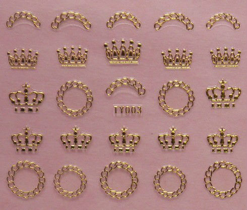 12 Designs Gold Metal Nail Art 3D Sticker Metallic Crown Bow Heart Jewelry Korea Style Free Shipping