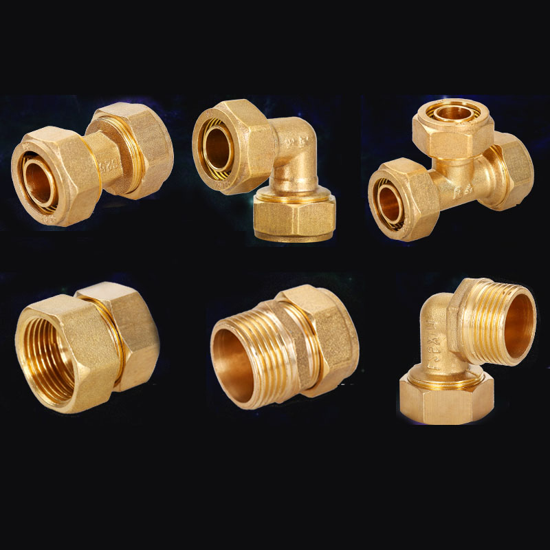 Copper Tee Connection Fittings Brass Fitting Water Connector Inlet Valve
