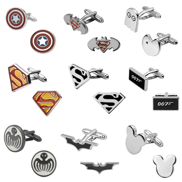 Eighteen Design Film Superman Super Hero Batman Pacman 007 Cufflinks Mens Jewelry Shirt Cuff