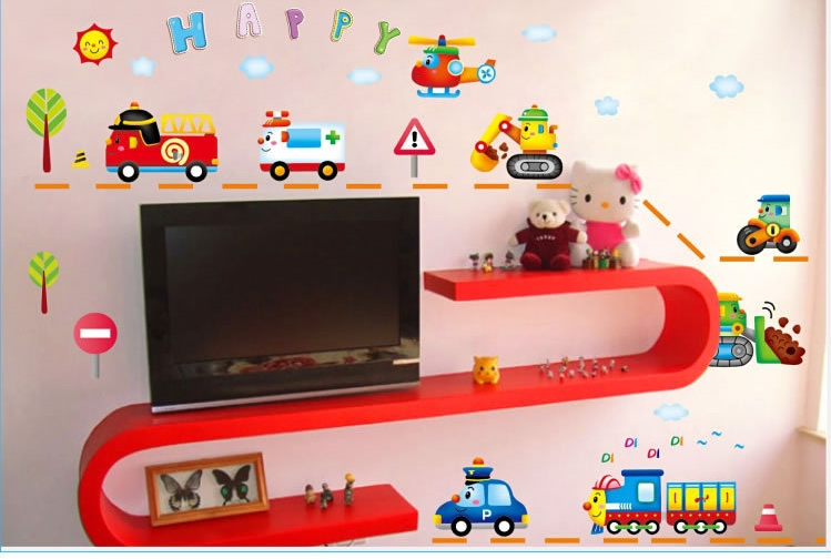 Quality Cute Cars Trucks Wall Stickers Boys Kids Bedroom Home Decor Cartoon Vinyl Decals Fridge Games In From Garden On