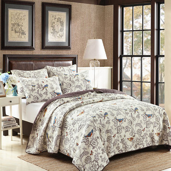 Free shipping 3pcs double size 100%cotton patchwork quilt full/queen size bird aircondition bed cover/bedspread special offer