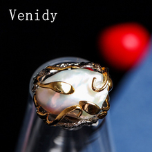 Venidy Female Baroque Pearl Ring Fashion Classic New White Pearls Jewelry Vintage Wedding Rings For Women Birthday Stone Gifts