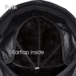 Image 5 - HL093 F genuine leather men berets cap hat CBD high quality fashion mens real leather baseball caps winter warm hats
