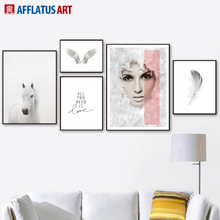 Horse Feather Girl Quotes Wall Art Canvas Painting Nordic Posters And Prints Black White Wall Pictures For Living Room Decor girl bird feather quotes wall art canvas painting nordic posters and prints black white wall pictures for living room home decor