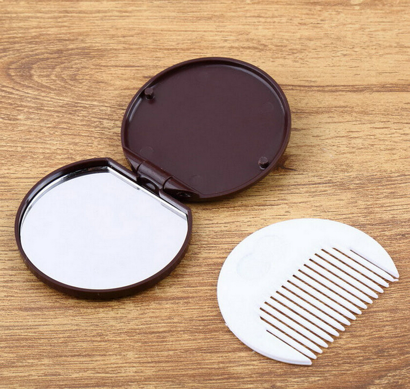 Mini Pocket Dark Brown Cute Chocolate Cookie Shaped Design Makeup Mirror with Comb Makeup Tool Pocket Mirror button design tee with pocket
