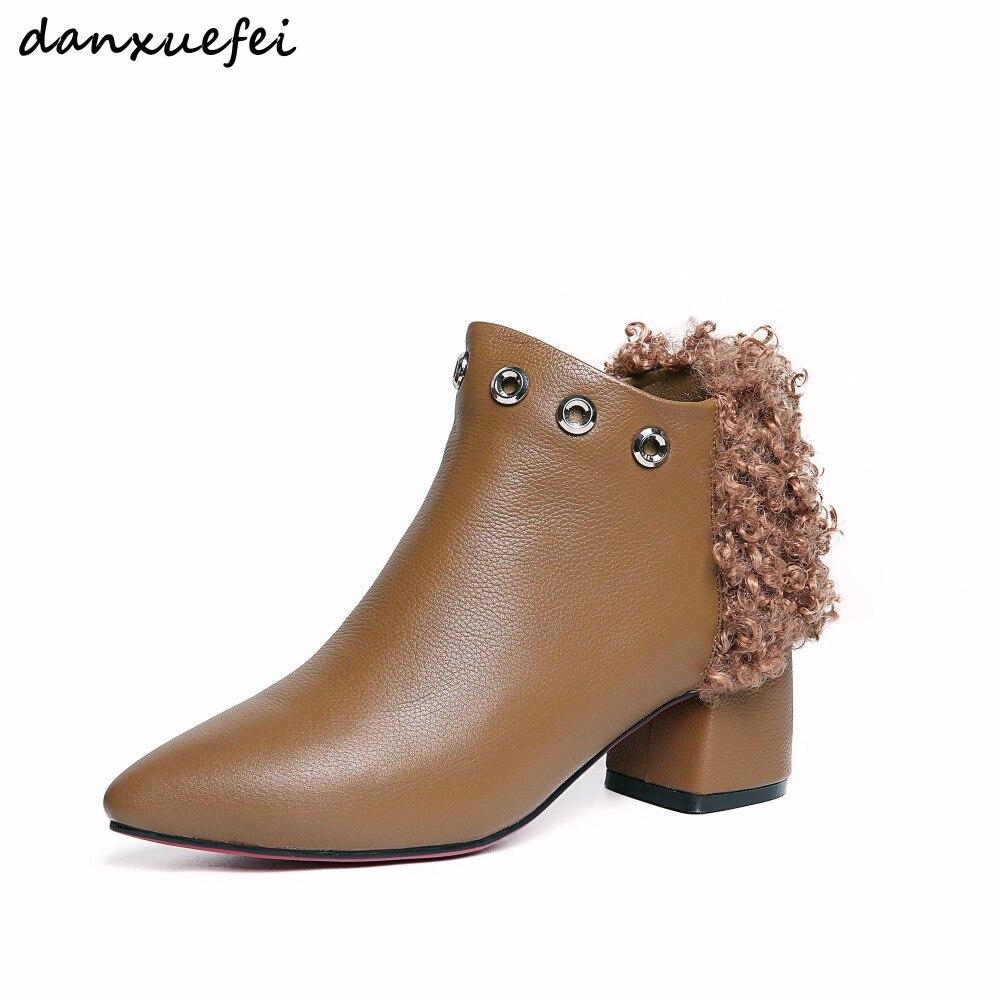 ... Bottes 3 Confortable Bout Cheville brown Pointu Femmes Chaussures Rivet  D hiver 40 La Automne Laine Taille Plus Black Talon Couleur brown De Med  ww6IO 7b6f8eb35bb6