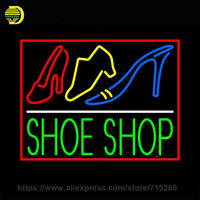 Neon Sign Green Shoe Shop With Border Neon Light Glass Tube Arcade Neon Bulb Cool Lamp