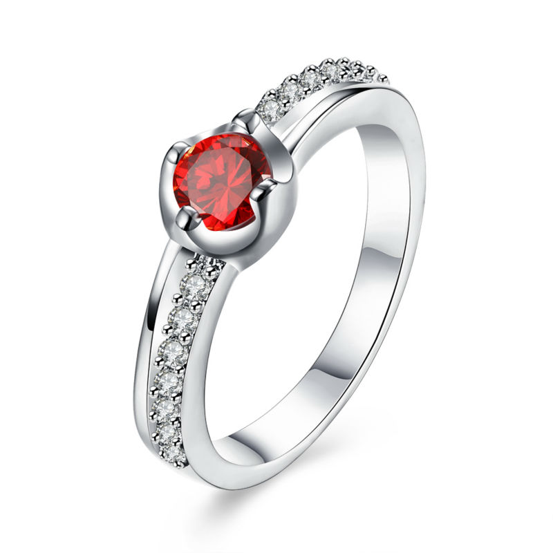 High Quality Designs Silver Round Red Cubic Zircon Carter Rings For Women Girls Wedding Engagement Anillos Jewelry
