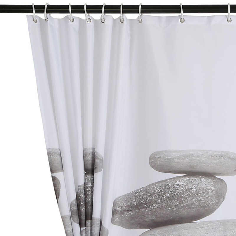 Pebble 3D Print Waterproof Bathroom Curtain Real Thicken Coating Process Shower High Quality Fabrics