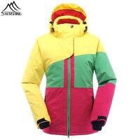Saenshing Winter Ski Jacket Women Snowboard Snow Jacket Super Warm Simple Pattern Waterproof Outdoor Female Coat