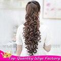 Природные и синтетические волосы расширение хвост Drawstring ponytail шиньоны завитые ponytail парик клип хвостики поддельные волосы длинные хвостики
