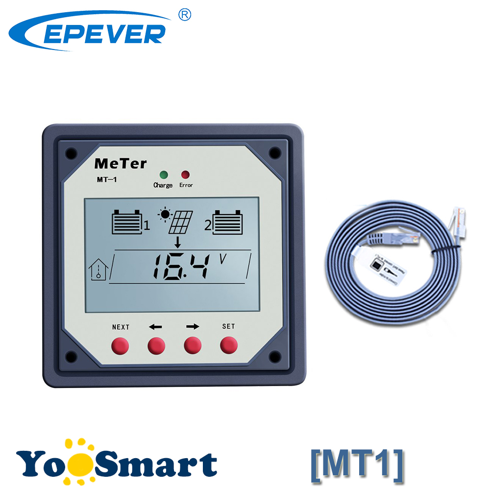 MT1 Remote Meter LCD For Dula Battery 10M Cable MT-1 For EPSOLAR 10A 20A PWM Solar Charge Controller RegulatorsMT1 Remote Meter LCD For Dula Battery 10M Cable MT-1 For EPSOLAR 10A 20A PWM Solar Charge Controller Regulators