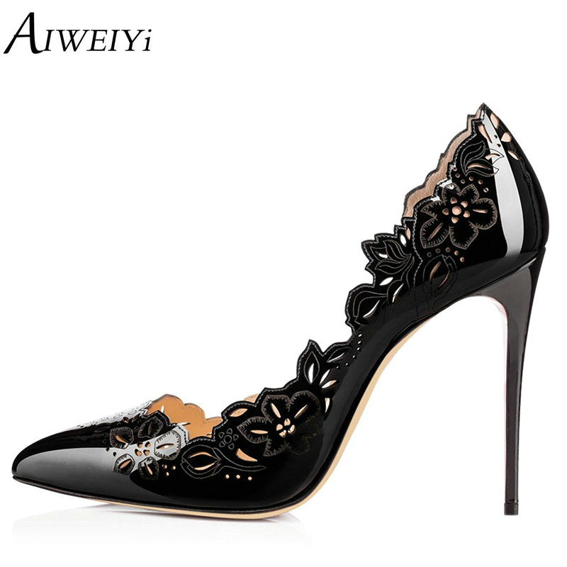 AIWEIYi Brand Shoes Woman High Heels Women Shoes Pumps Stilettos Shoes Black White High Heels 10CM PU Leather Wedding Shoes aiweiyi women s pumps shoes 100