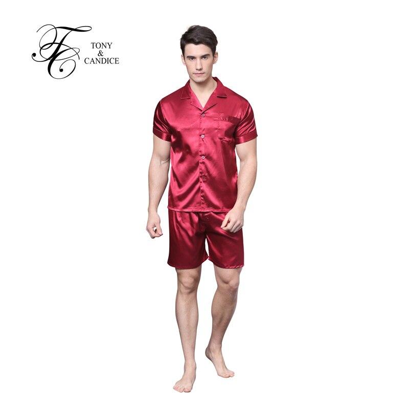 Men's Silk Pajama Sets Short Sleeve Shirts With Elastic Waist Nightgown Soft Satin Fabric For Men Sleepwear Classical Style(China (Mainland))