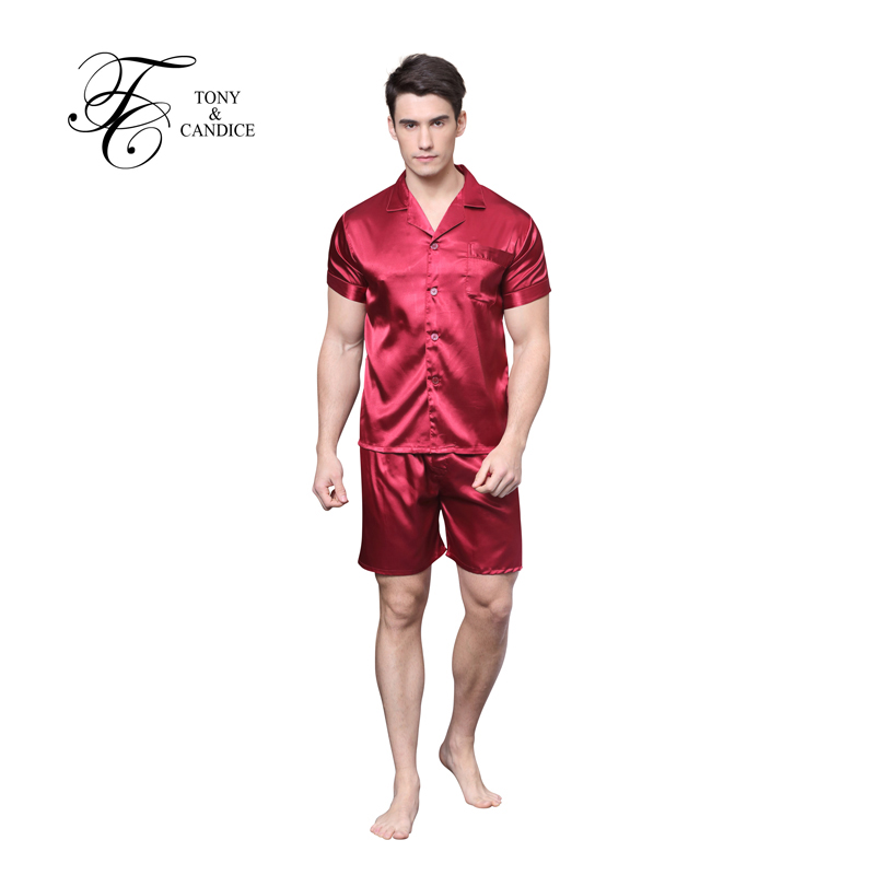 Men's Silk Pajamas Satin Sleepwear Short Sleeves Pajamas Set In Summer Soft Cozy Nightgown For Men pyjamas Casual Style M-XXL(China (Mainland))