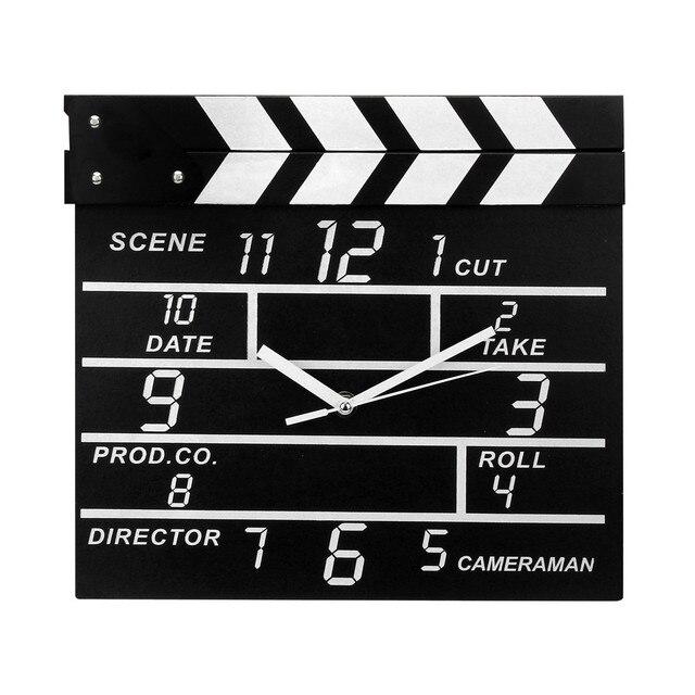 ISHOWTIENDA   Creative Cinema Movie Slate Analog Wall Clock Clapper Film Modern Home Livingroom Bed Room Hanging Clock Black