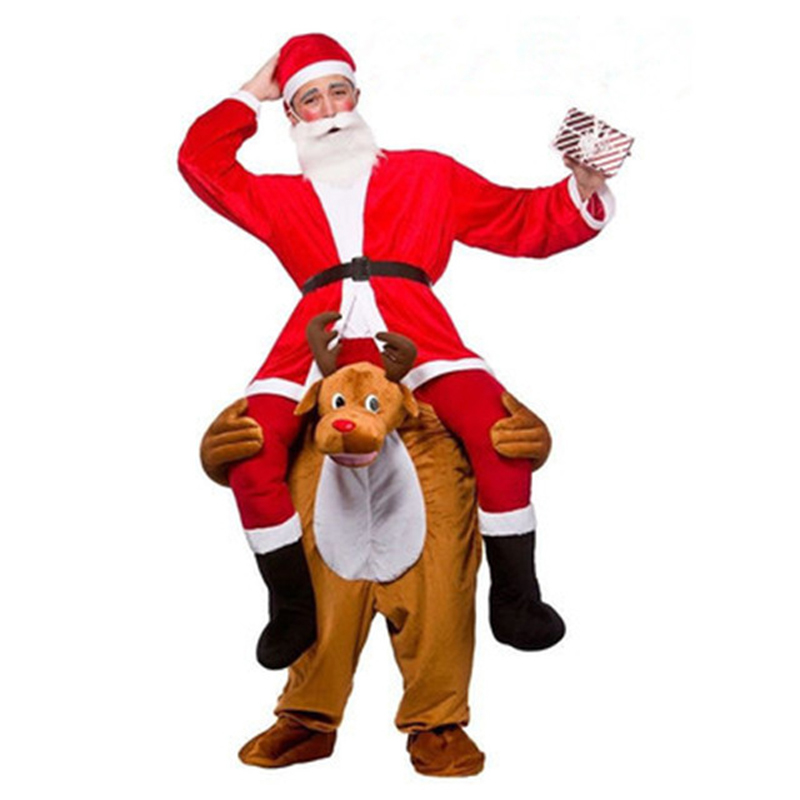 Novelty Ride on Me Elk Mascot Cosplay Costumes Carry Back Funny Animal Pants Fancy Dress Up Oktoberfest Christmas Party Clothes ...