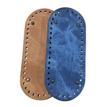 21x9cm Bag Bottom Denim Oval Leather Bottoms with Holes Bag Accessories DIY Part for Handbag Crossbody Messenger Bags