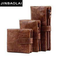 JINBAOLAI Genuine Crazy Horse Cowhide Leather Men Wallets Fashion Purse With Card Holder Vintage Long Wallet