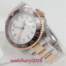 цена 40mm Bliger White Dial Sterile Sapphire Glass Calendar Rotating Ceramic Bezel Luminous Stee Case Automatic Movement men's Watch онлайн в 2017 году