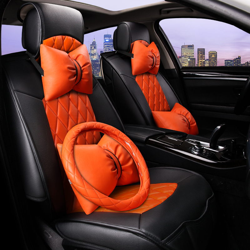 Lovely Girl Style 3D Hit Color Cushion High-Fiber Leather Car Seat Cover Car-Styling ...