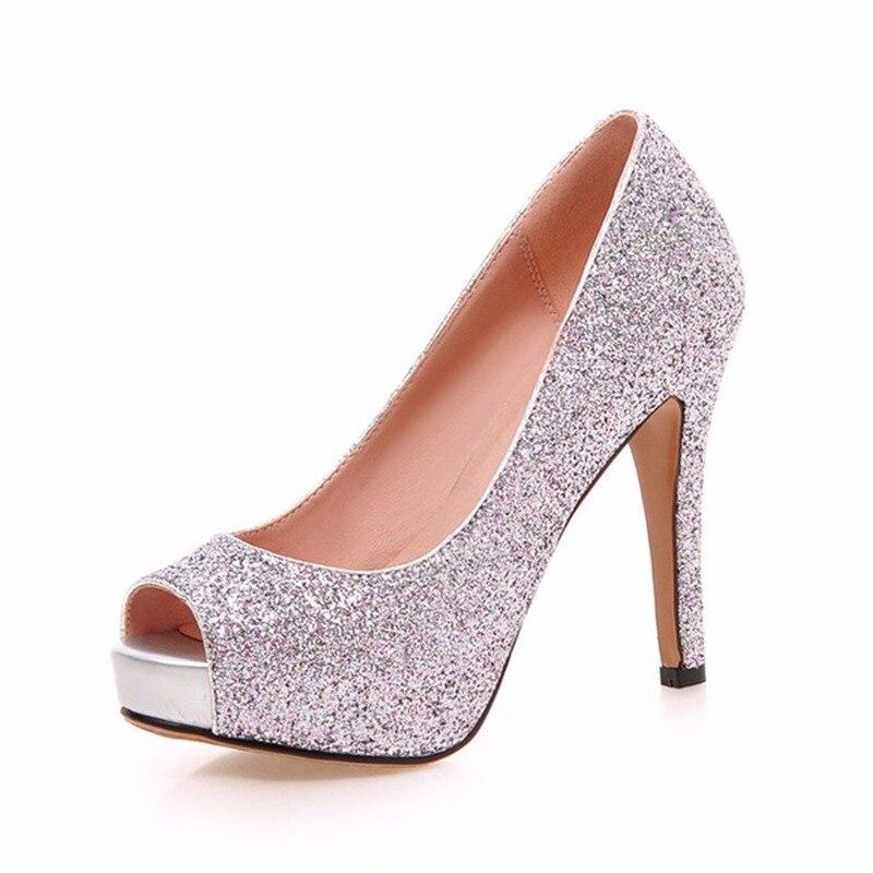 c818a356bc48 KARINLUNA New Large Size 34-43 Peep Toe Platform Women Shoes Woman Sexy  Bling Upper