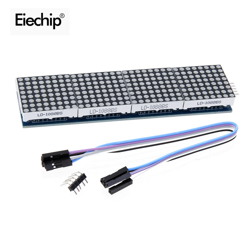 Eiechip MAX7219 Dot Matrix Module For Arduino Microcontroller 4 In One LED Display with 5P Line MAX7219 display 8x8 matrix