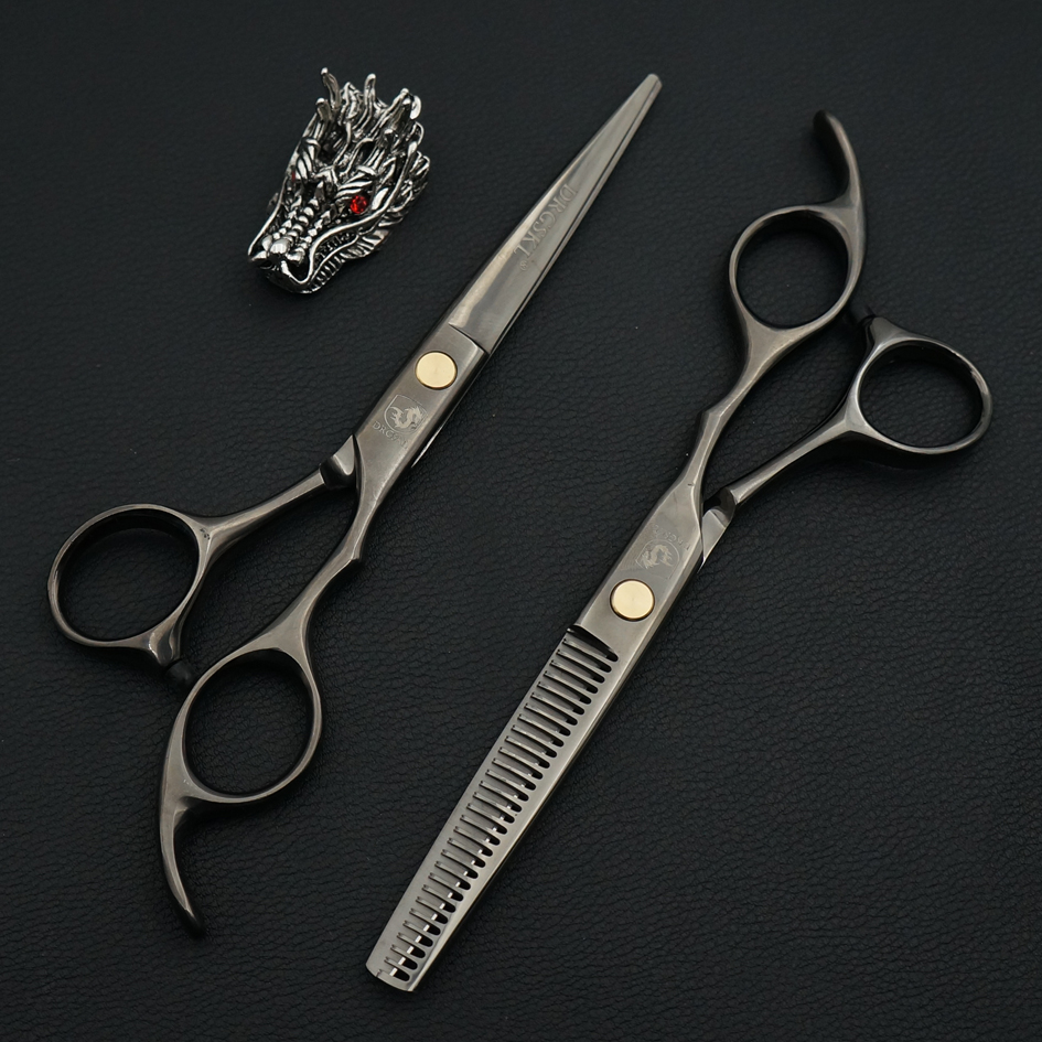 SALE black paint professional hair scissors, 6.0 inch salo barber hair hairdressing scissors familial hair cut shears