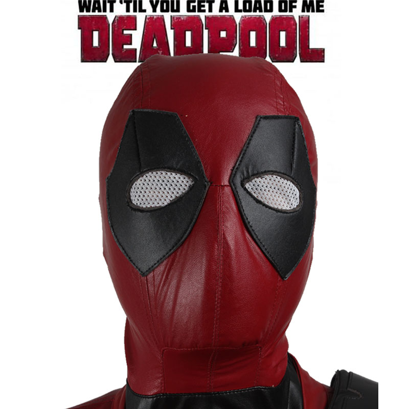 Red leather Deadpool Mask movie helmet 2017 superhero deadpool cosplay Hat high quality Xmen Halloween cosplay mask Deadpool