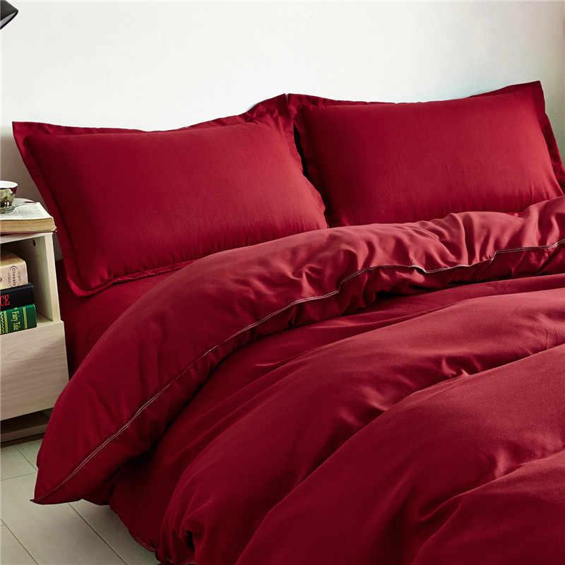 Новая мода домашний текстиль комплект однотонной одежды красного цвета: винно-пододеяльник активный процесс окраски не наносит duver простыня beddinng комплект 3/4 шт.